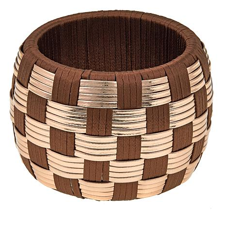 Rara Avis by Iris Apfel Basketweave Brown and Goldtone Bangle Bracelet