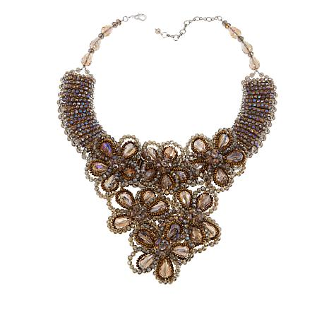 "Rara Avis by Iris Apfel Beaded Stone 17"" Floral Necklace"