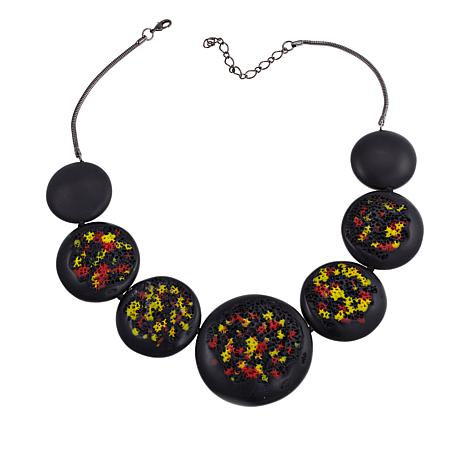 """Rara Avis by Iris Apfel Black, Yellow and Red Disc 22"""" Necklace"""