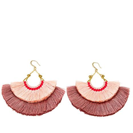 Rara Avis by Iris Apfel Cotton Thread Fan Earrings