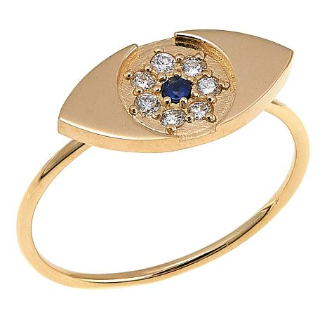 Rarities 0.13ctw Diamond and Sapphire 14K Gold Evil Eye Ring