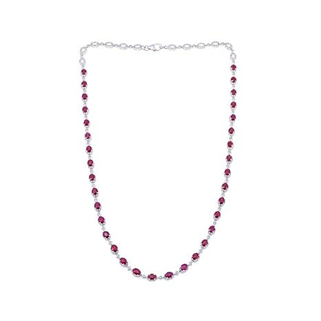 Rarities 10.42ctw Ruby & White Zircon Sterling Necklace