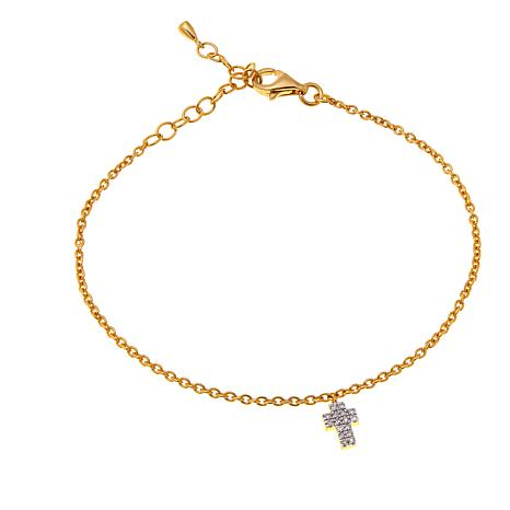 Rarities 10K Gold 0.10ctw White Diamond Cross Charm Bracelet