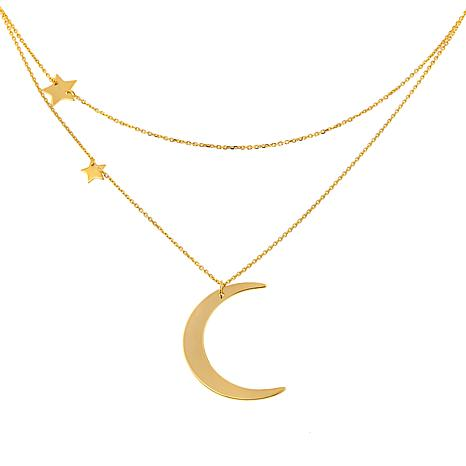 "Rarities 14K Gold Moon and Stars 16"" Cable-Link Necklace"