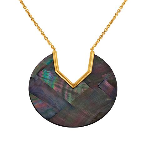 """Rarities 18"""" Gold-Plated Sterling Silver Disc-Design Shell Necklace"""