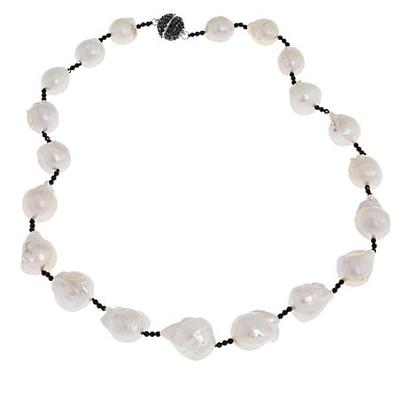 """Rarities 20-1/2"""" Cultured Freshwater Pearl and Black Spinel Necklace"""