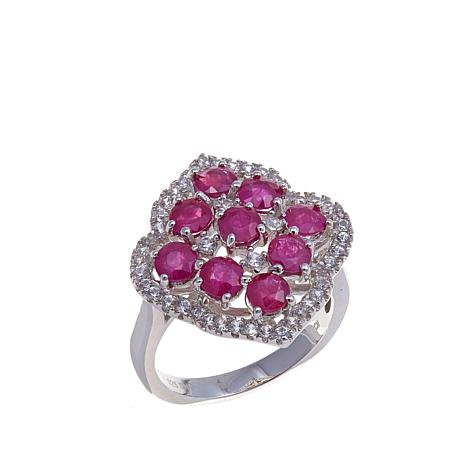Rarities 2.92ctw Ruby and White Zircon Marquise Ring