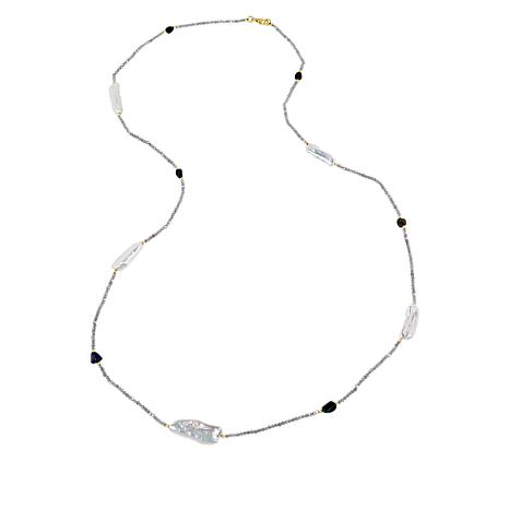 """Rarities 36"""" Beaded Necklace with Black Opal and Cultured Pearls"""