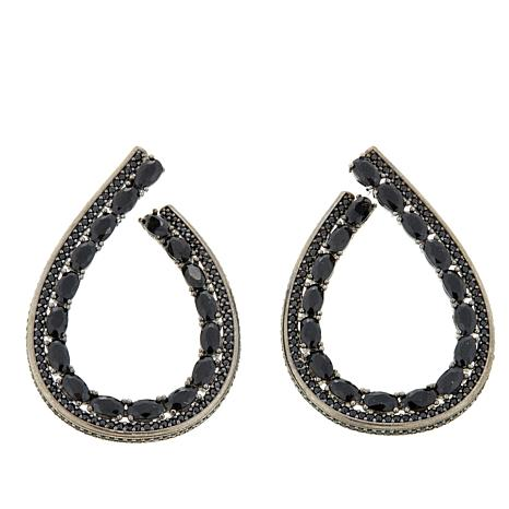 Rarities 3 84ctw Black Spinel Oval Hoop Earrings