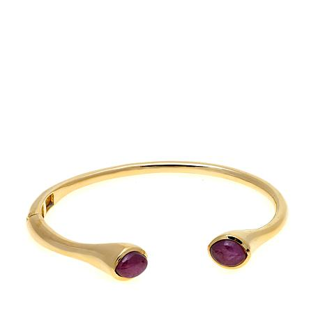 Rarities 5ctw Marquise Ruby Hinged Bangle Bracelet