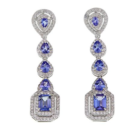 Rarities 6.12ctw Tanzanite and White Zircon Sterling Silver Earrings
