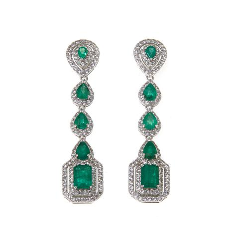 Rarities 6.2ctw Emerald and White Zircon Sterling Silver Drop Earrings