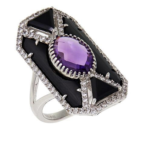 Rarities Amethyst, Onyx and Zircon Art Deco-Style Sterling Silver Ring