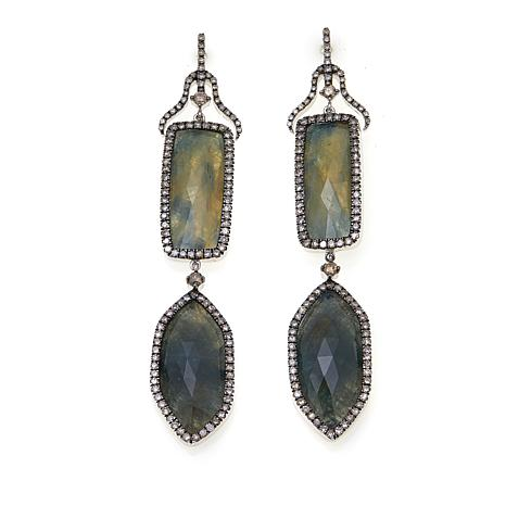 Rarities Bluish Gray Sapphire and DiamondEarrings