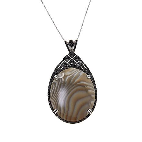 """Rarities Cream-Colored Agate and Black Spinel Pendant with 18"""" Chain"""