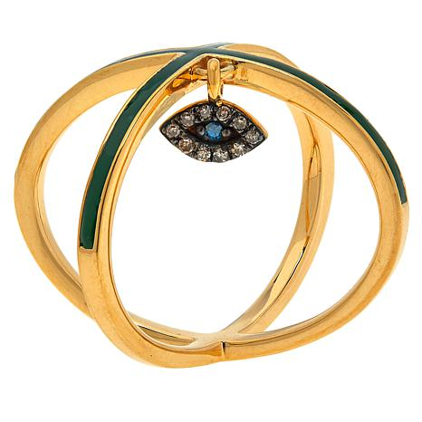 Rarities Criss Cross Ring with Diamond Evil Eye Charm