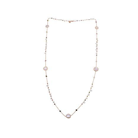 Rarities Cultured Pearl/Multicolor Tourmaline Necklace