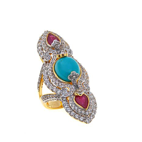 Rarities Elongated Turquoise Multigem 3-Stone Ring