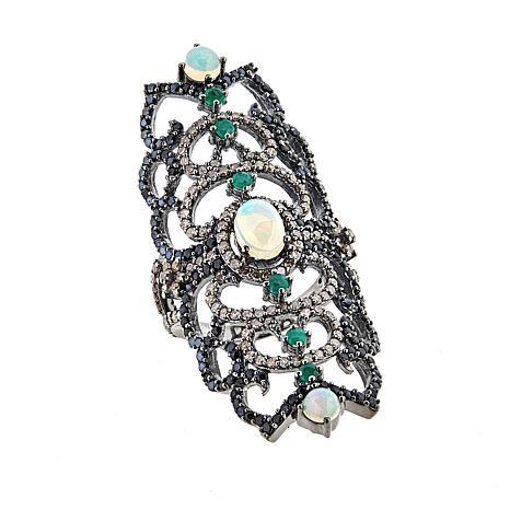 Rarities Ethiopian Opal and Gemstone Elongated Open Metalwork Ring