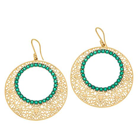 Rarities Gold-Plated Agate Floral Design Disc Drop Earrings