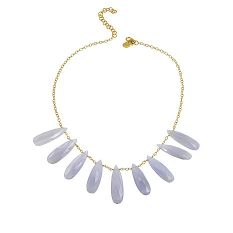 Rarities Gold-Plated Blue Lace Agate Necklace