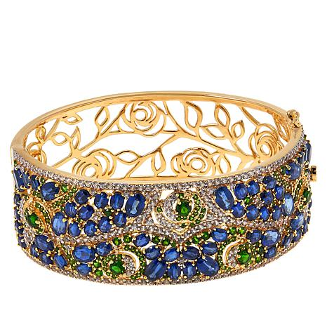 Rarities Gold-Plated Chrome Diopside and Gemstone Bangle Bracelet