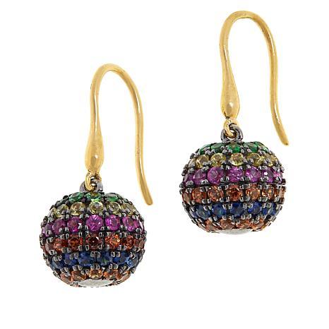 Rarities Gold-Plated Multi-Gemstone Rainbow Glitter Ball Drop Earrings