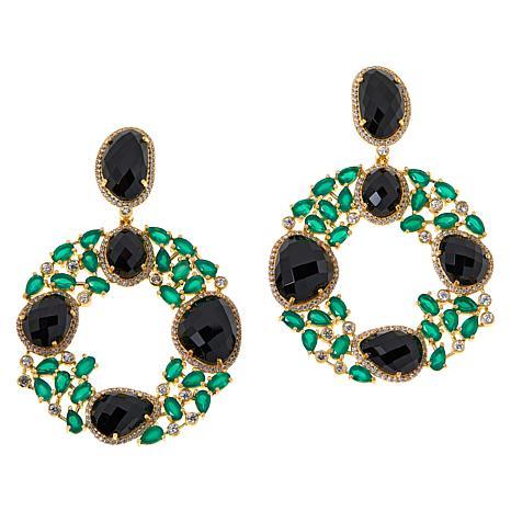 Rarities Gold-Plated Onyx, Green Agate and Zircon Dangle Earrings