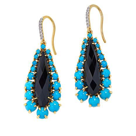 Rarities Gold-Plated Onyx, Turquoise and White Zircon Drop Earrings