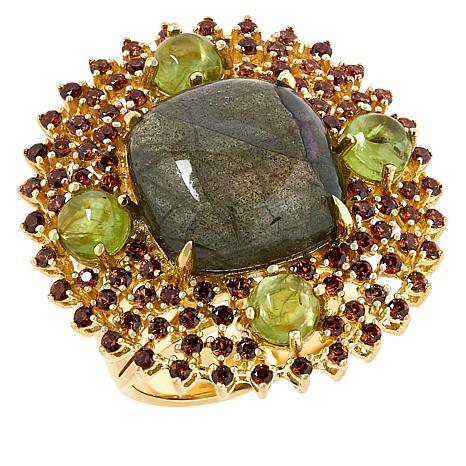 Rarities  Gold-Plated Purple Labradorite and Multi-Gemstone Ring