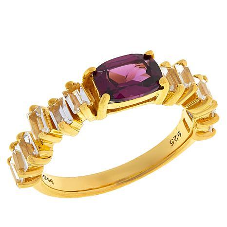 Rarities Gold-Plated Sterling Silver Gem & White Topaz Baguette Ring