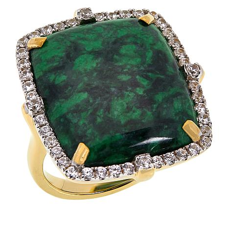 Rarities Gold-Plated Sterling Silver Green Maw Sit Sit and Zircon Ring