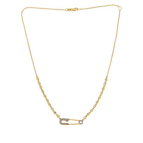 Rarities Gold-Plated Sterling Silver Zircon Safety Pin Necklace