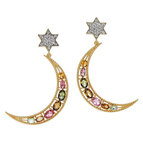 Rarities Gold-Plated Tourmaline and Zircon Moon and Star Drop Earrings