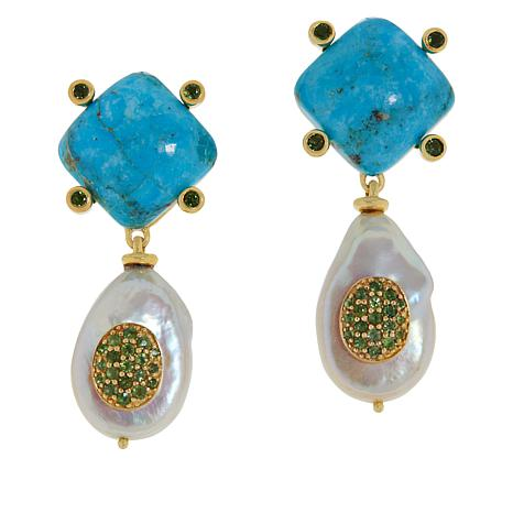 Rarities Gold-Plated Turquoise, Pearl and Tourmaline Drop Earrings