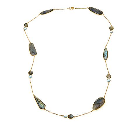 "Rarities Labradorite and Blue Topaz 36"" Cable-Chain Necklace"