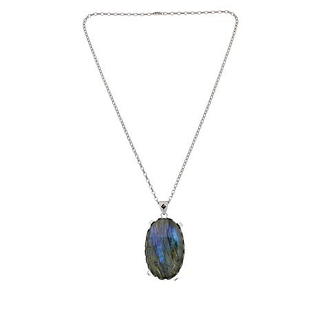 "Rarities Labradorite and Garnet Oval Pendant with 20"" Chain"