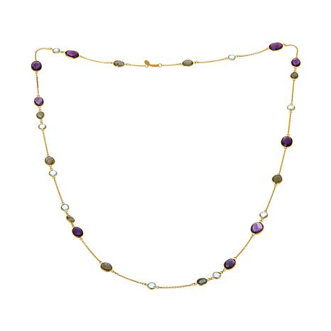 "Rarities Labradorite, Blue Topaz and Amethyst 44"" Oval-Link Necklace"