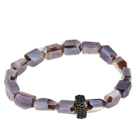 Rarities Moonstone Nugget and Black Spinel Stretch Bracelet