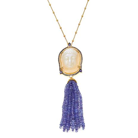 Rarities Mother-of-Pearl, Iolite and Gem Buddha Gold-Plated Pendant