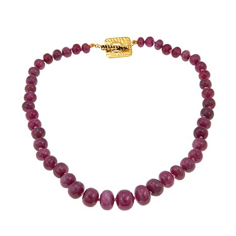 "Rarities Natural Pink and Red Sapphire Rondelle Bead 17-3/4"" Necklace"