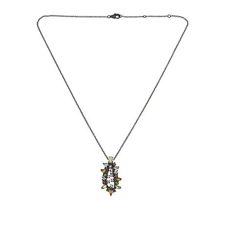 "Rarities Open Oval Multigem Pendant with 18"" Rolo Chain"