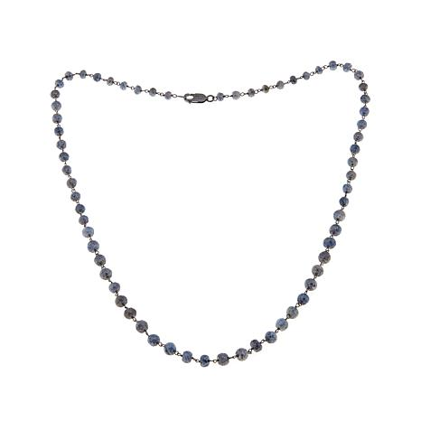 "Rarities Platinum-Color Sapphire Beaded 24""  Necklace"