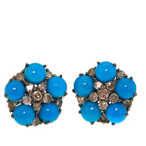 Rarities Round Turquoise Cabochon and Champagne Diamond Stud Earrings
