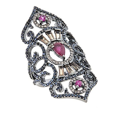 Rarities Ruby and Black Spinel Multigem Elongated Ring