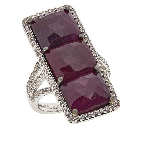 Rarities Sterling Silver 3-Stone Ruby and White Zircon Ring