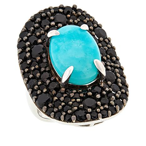 Rarities Sterling Silver Amazonite and Black Spinel Ring