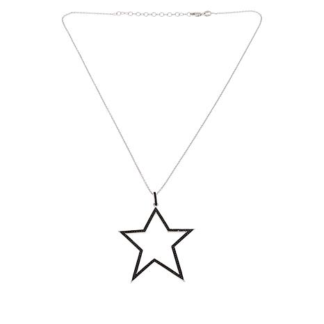 Rarities Sterling Silver Diamond Star Pendant with Chain