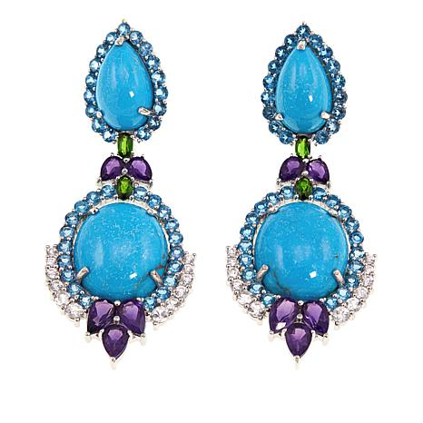Rarities Turquoise and Gemstone Sterling Silver Drop Earrings