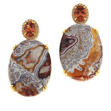 Rarities Variegated Agate and Orange and White Zircon Drop Earrings